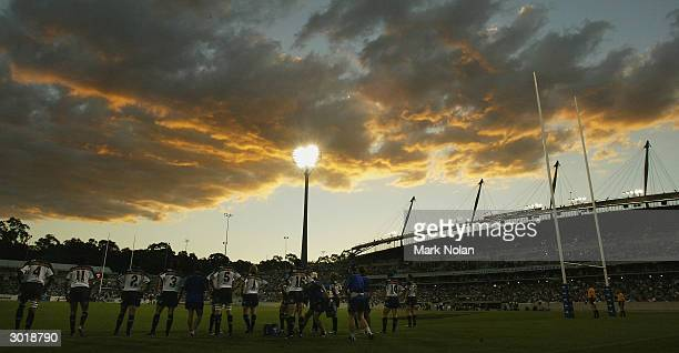 General view of Canberra stadium after the Cats score a try during the second round Super 12 Rugby match between the Brumbies and the Cats at...