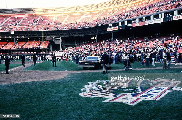 General view of Candlestick Park after the Loma Prieta earthquake hit prior to World Series game three between the Oakland Athletics and San...