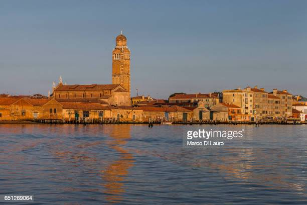 A general view of Cannaregio with the Church of della Madonna dell'Orto is seen from the ferry going to Burano Island on July 1 2015 in Venice Italy...