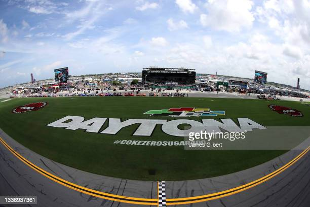 General view of car on the grid prior to the NASCAR Xfinity Series Wawa 250 at Daytona International Speedway on August 28, 2021 in Daytona Beach,...