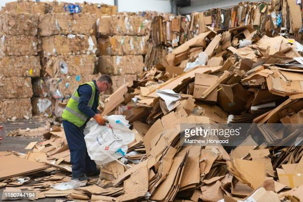 A general view of cardboard being recycled in a recycling facility on May 10 2019 in Cardiff United Kingdom