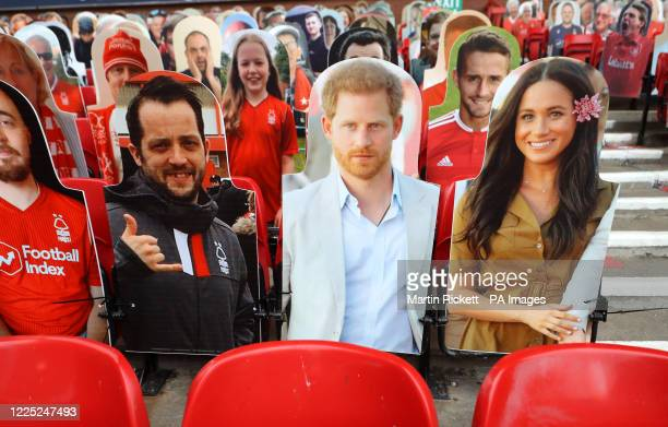 A general view of cardboard cutouts of fans in the stands including The Duke and Duchess of Sussex before the Sky Bet Championship match at the City...