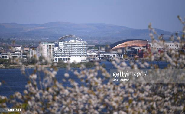 A general view of Cardiff Bay through the spring blossom on April 23 2020 in Cardiff Wales The British government has extended the lockdown...
