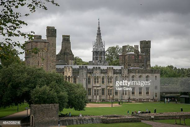 A general view of Cardiff Castle ahead of the NATO summit that is being held in South Wales next week on August 26 2014 in Cardiff Wales The barriers...