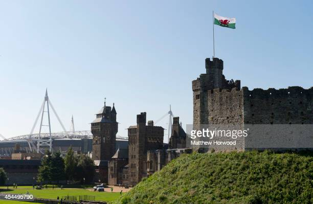 A general view of Cardiff Castle as preparations continue ahead of the 2014 Nato summit on September 2 2014 in Cardiff Wales World leaders from the...