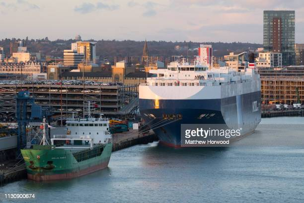 A general view of cargo ships the Arklow Rainbow and NYK Line ship at the Port of Southampton on February 10 2019 in Southampton England The Port of...