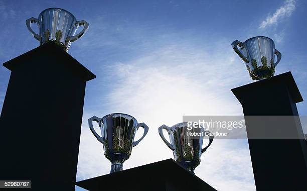 A general view of Carlton's Premiership cups on display prior to the the AFL round 9 match between the Carlton Blues and the Melbourne Demons at...