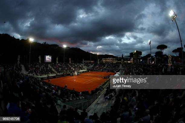 A general view of Caroline Wozniacki of Denmark playing Alison Van Uytvanck of Belgium during day four of the Internazionali BNL d'Italia 2018 tennis...