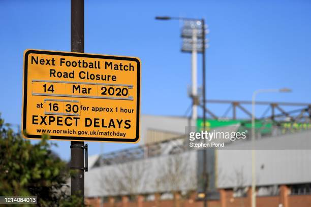 A general view of Carrow Road home of Norwich City Football Club on March 22 2020 in Norwich England All English football has been postponed until at...