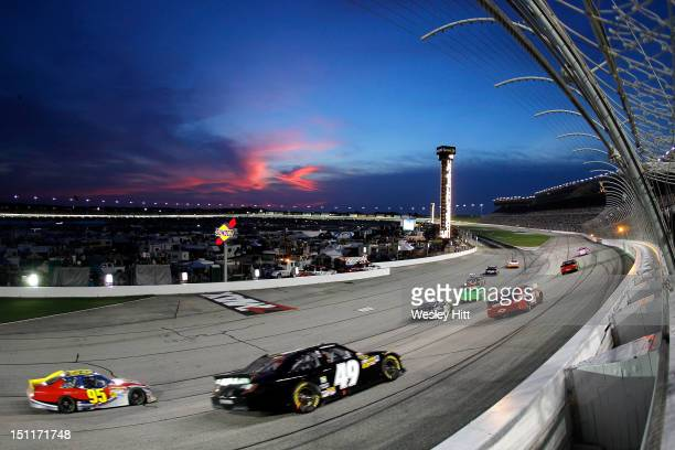 A general view of cars as the race through turn four during the NASCAR Sprint Cup Series AdvoCare 500 at Atlanta Motor Speedway on September 2 2012...