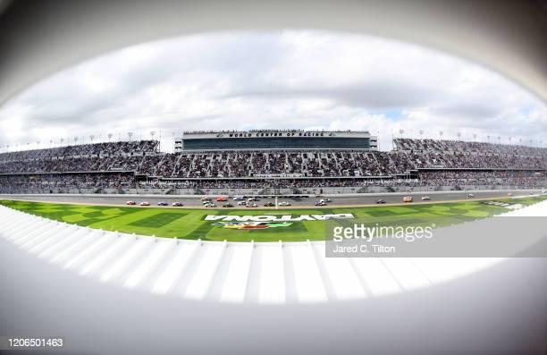 A general view of cars during the running of the NASCAR Xfinity Series NASCAR Racing Experience 300 at Daytona International Speedway on February 15...