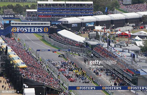 A general view of cars on the grid before the start of the Australian Formula One Grand Prix at Albert Park on March 6 2005 in Melbourne Australia