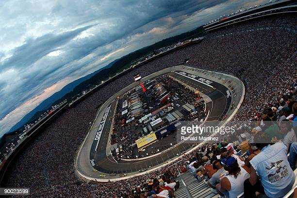 General view of cars racing during the NASCAR Sprint Cup Series Sharpie 500 at Bristol Motor Speedway on August 22, 2009 in Bristol, Tennessee.