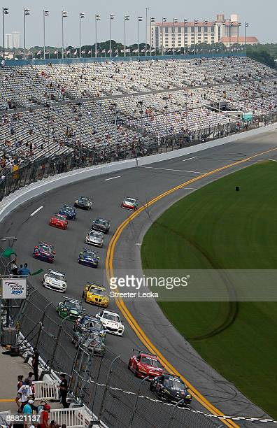 General view of cars starting during the Rolex Grand-Am Sports Car Series Brumos Porsche 250 at Daytona International Speedway on July 4, 2009 in...