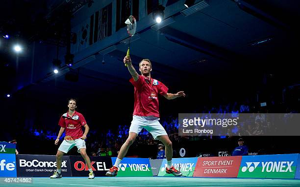General view of Carsten Mogensen and Mathias Boe of Denmark in action in the semifinals during the Yonex Denmark Open MetLife BWF World Superseries...