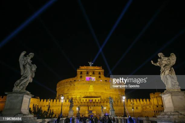 A general view of Castel Sant'Angelo before the start of the celebrations for the 120th Anniversary of the SS Lazio on January 8 2020 in Rome Italy