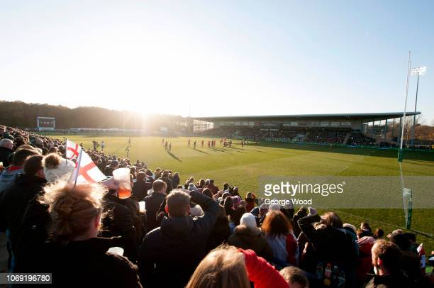 General view of Castle Park Stadium as fans look on during the Quilter International between England Women and Canada Women at Castle Park on...