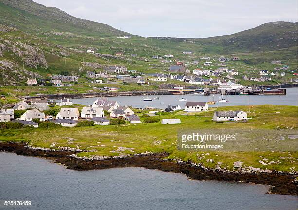 General view of Castlebay the largest settlement in Barra Outer Hebrides Scotland