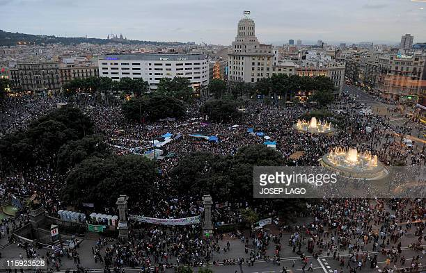 General view of Catalunya's square in Barcelona on May 27 2011 during protests against Spain's economic crisis and its skyhigh jobless rate Spanish...