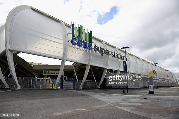 A general view of CBus Super Stadium on February 23 2015 on the Gold Coast Australia Several Gold Coast Titans NRL players have been served notices...