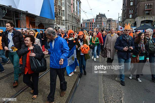 A general view of celebrations for the inauguration of King Willem Alexander of the Netherlands as Queen Beatrix of the Netherlands abdicates on...