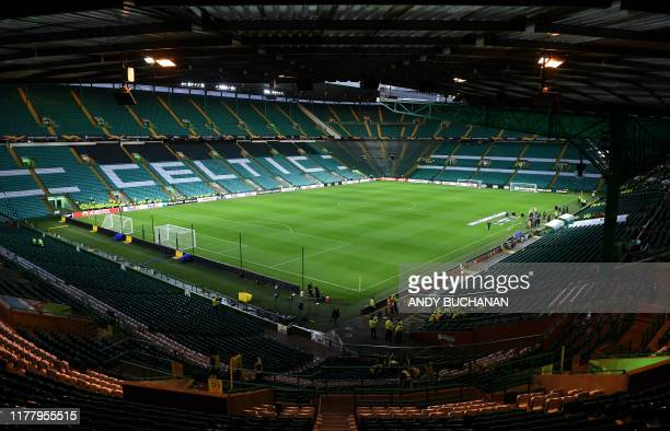 General view of Celtic Park stadium in Glasgow, Scotland on October 24 ahead of the UEFA Europa League group E football match between Celtic and...