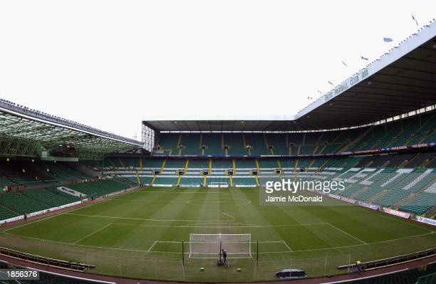 General view of Celtic Park taken during the Scottish Premier League match between Glasgow Celtic and Glasgow Rangers held on March 8, 2003 at Celtic...