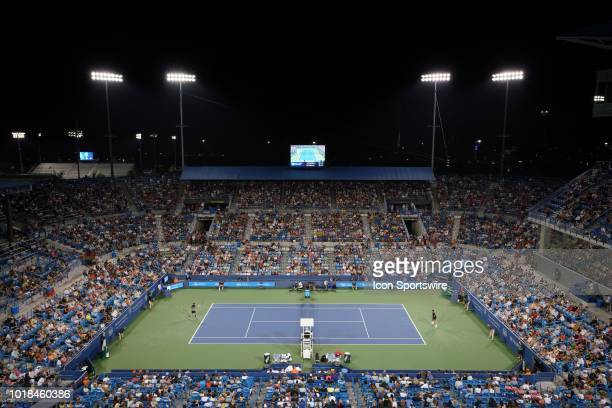 General view of center court during a match between Roger Federer and Stan Wawrinka during the Western & Southern Open at the Lindner Family Tennis...