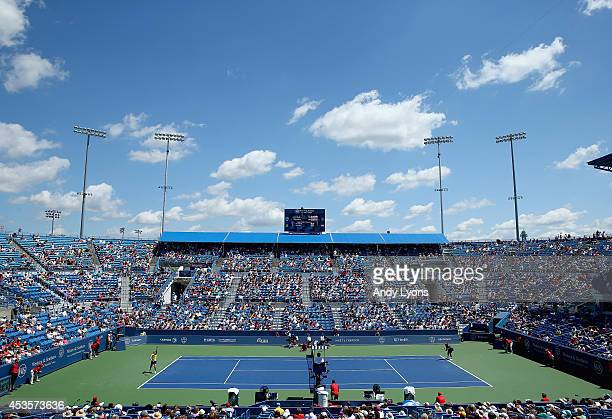 General view of center court during the Serena Williams match against Samantha Stosur of Australia during a match on day 5 at Western & Southern Open...