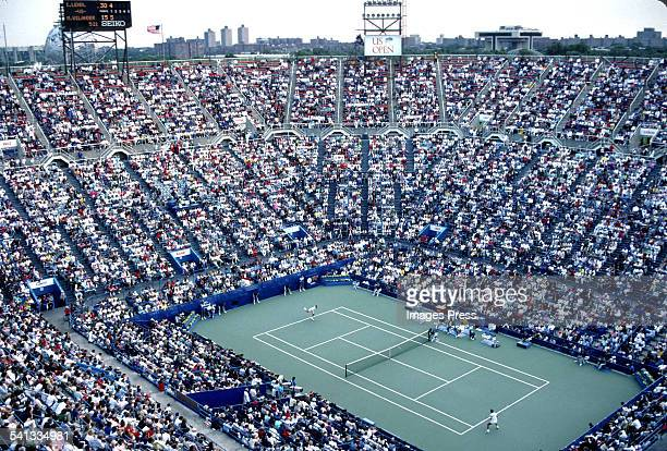 General view of center court of the National Tennis Center during the US Open Tennis Tournament circa 1988 in Flushing Queens