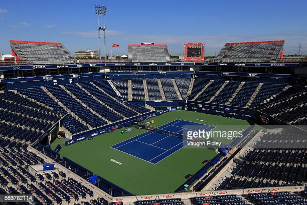 General view of center court on Day 3 of the Rogers Cup at the Aviva Centre on July 27 2016 in Toronto Ontario Canada