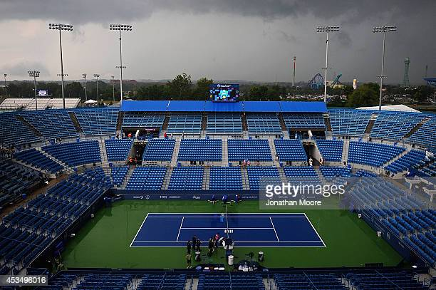 General view of center court with clouds in the background on day three of the Western & Southern Open on August 11, 2014 in Cincinnati, Ohio