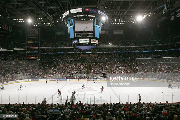 A general view of center ice and scoreboard prior to the NHL game between the San Jose Sharks and the Columbus Blue Jackets on October 23 2006 at the...