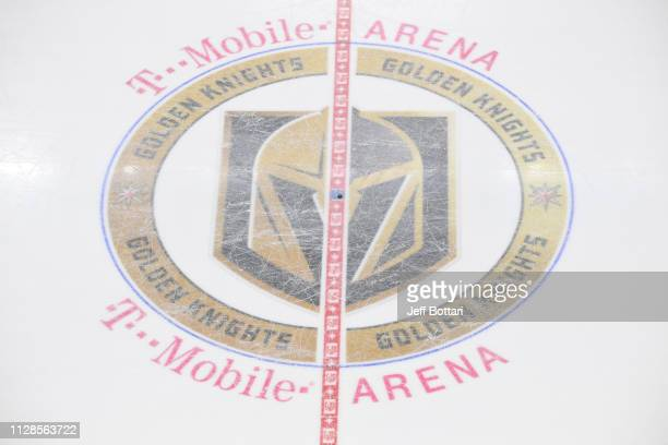 General view of center ice during a game between the Vegas Golden Knights and Vancouver Canucks at T-Mobile Arena on March 3, 2019 in Las Vegas,...