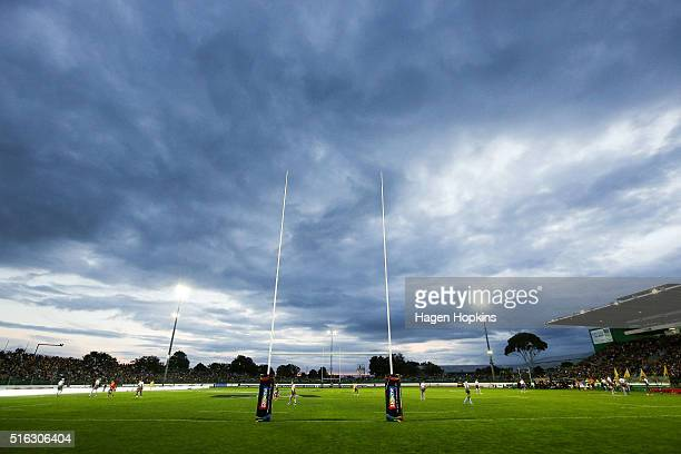 A general view of Central Energy Trust Arena during the round four Super Rugby match between the Hurricanes and the Force on March 18 2016 in...