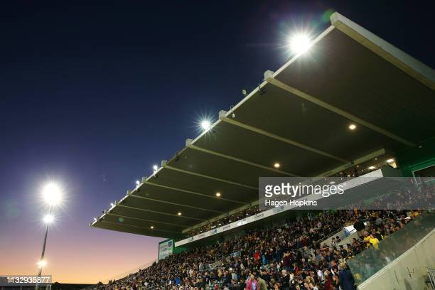 General view of Central Energy Trust Arena during the round three Super Rugby match between the Hurricanes and the Brumbies at Central Energy Trust...