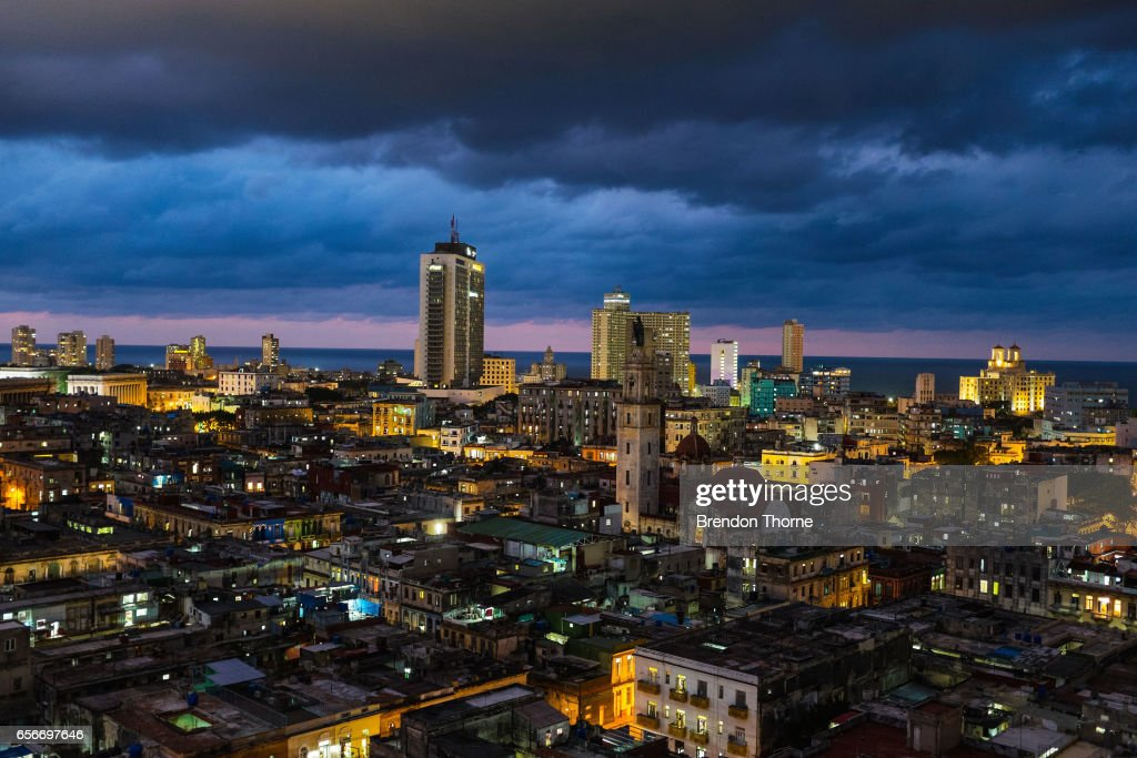 A general view of Central Havana and Vedado at night in Havana on January 29, 2017 in Havana, Cuba.