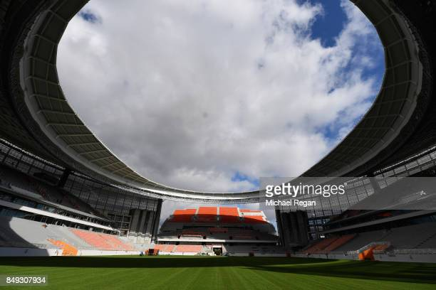 A general view of Central Stadium as work continues on September 18 2017 in EKATERINBURG Russia