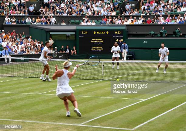 A general view of centre court as Alexa Guarachi of Chile partner of Andreas Mies of Germany plays a forehand in their Mixed Doubles first round...