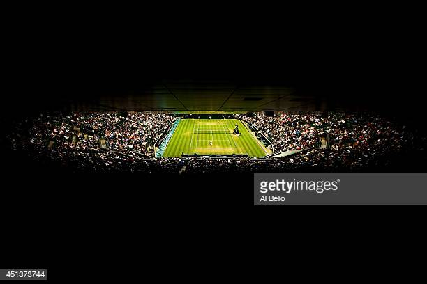 A general view of Centre court as Alison Riske of the United States plays against Maria Sharapova of Russia in their Ladies' Singles third round...