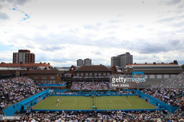 A general view of Centre Court as Andy Murray of Great Britain takes on Nick Kyrgios of Australia during Day 2 of the FeverTree Championships at...