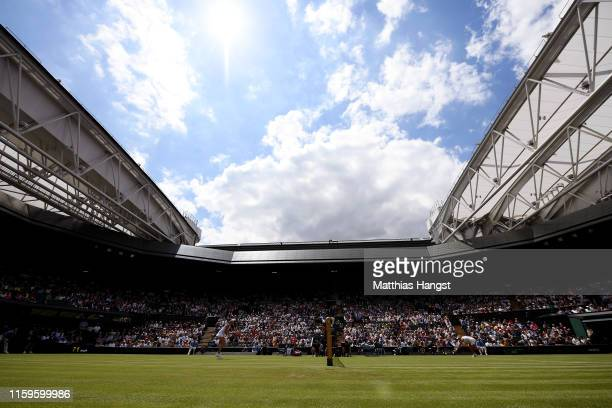 General view of centre court as Angelique Kerber of Germany and Tatjana Maria of Germany play in their Ladies' Singles first round match against...