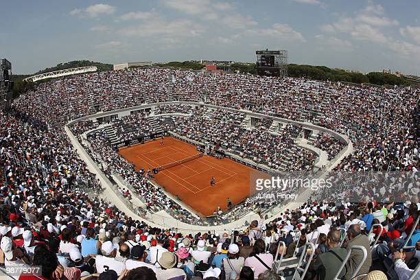 General view of centre court as David Ferrer of Spain in action against Fernando Verdasco of Spain during day seven of the ATP Masters Series - Rome...
