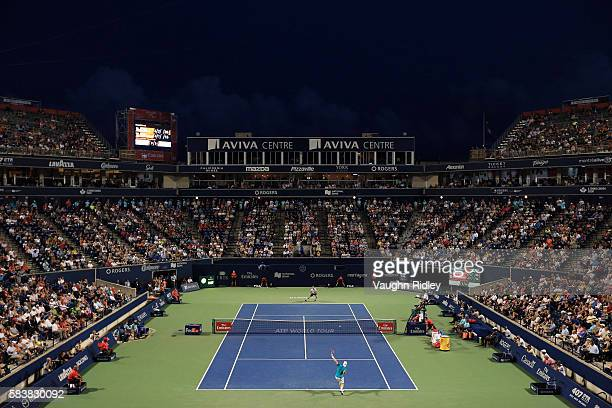 General View of Centre Court as Grigor Dimitrov of Bulgaria plays against Denis Shapovalov of Canada on Day 3 of the Rogers Cup at the Aviva Centre...