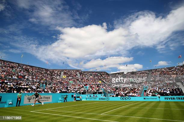A general view of Centre Court as Marin Cilic of Croatia plays a forehand during his First Round Singles Match against Christian Garin of Chile...