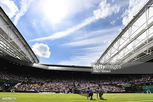 A general view of Centre court as Novak Djokovic of Serbia is in action against James Ward of Great Britain on day one of the Wimbledon Lawn Tennis...