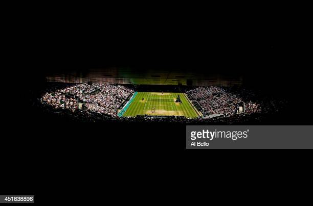 A general view of centre court as Petra Kvitova and Lucie Safarova of Czech Republic play in the Ladies' Singles semifinal match on day ten of the...