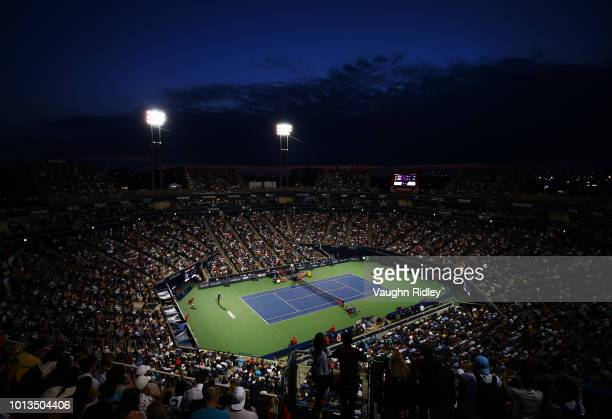 A general view of Centre Court as Rafael Nadal of Spain plays a 2nd round match against Benoit Paire of France on Day 3 of the Rogers Cup at Aviva...