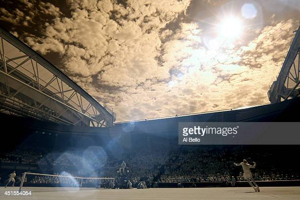 General view of Centre court as Rafael Nadal of Spain serves during his Gentlemen's Singles fourth round match against Nick Kyrgios of Australia on...