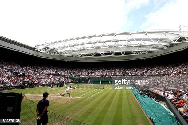 A general view of centre court as Roger Federer of Switzerland plays a forehand during the Gentlemen's Singles final against Marin Cilic of Croatia...